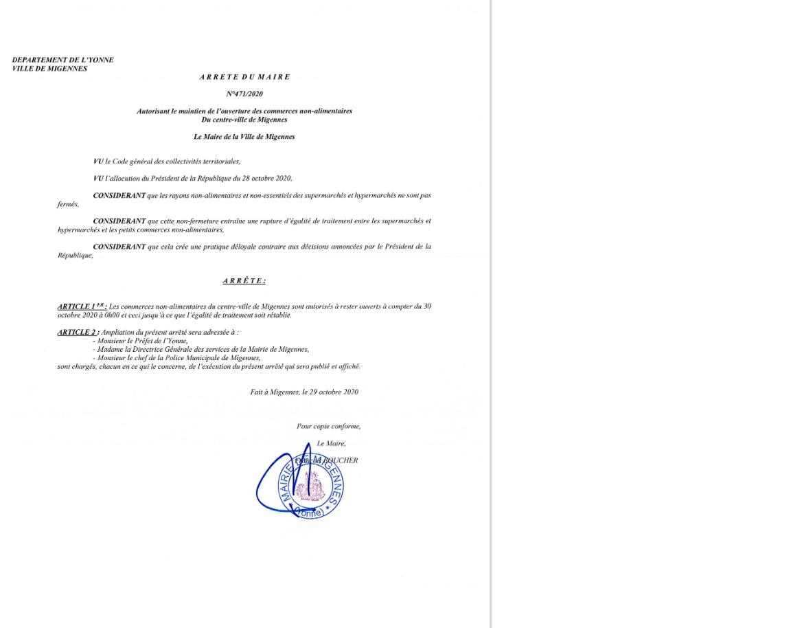 Arrêté du Maire - 29 Octobre 2020 - Autorisant le maintien de l'ouverture des commerces non-alimentaires du centre ville de Migennes